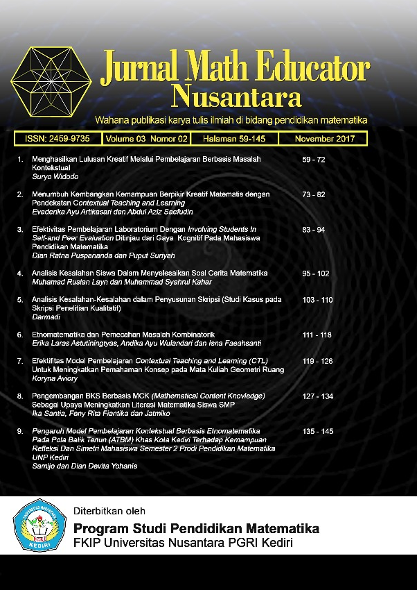 Jurnal Math Educator Nusantara Vol 3 No 2 (2017)