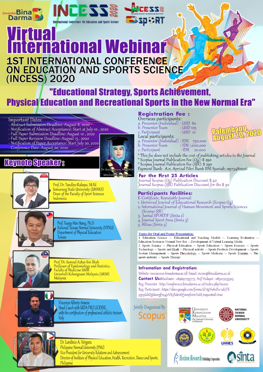 Special issue dedicated to International Conference on Education and Sports Science (INCESS) 2020