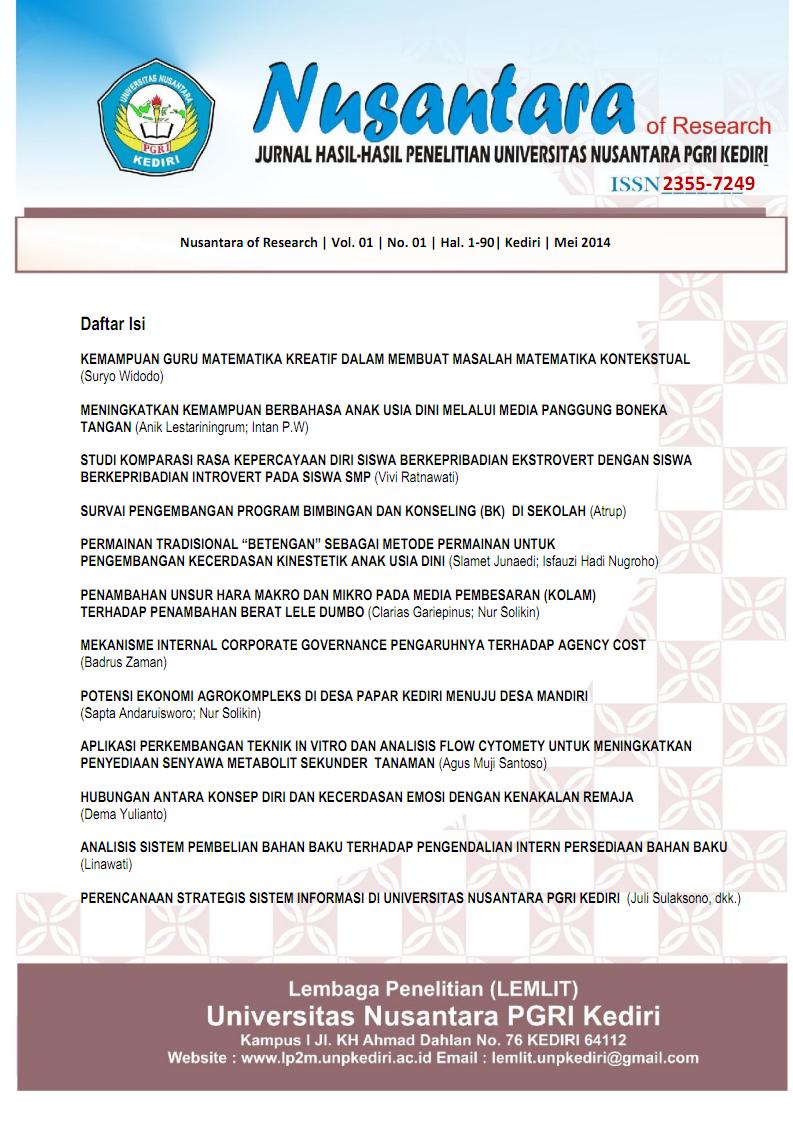 Permainan Tradisional Betengan Sebagai Metode Permainan Untuk Pengembangan Kecerdasan Kinestetik Anak Usia Dini Nusantara Of Research Jurnal Hasil Hasil Penelitian Universitas Nusantara Pgri Kediri E Journal