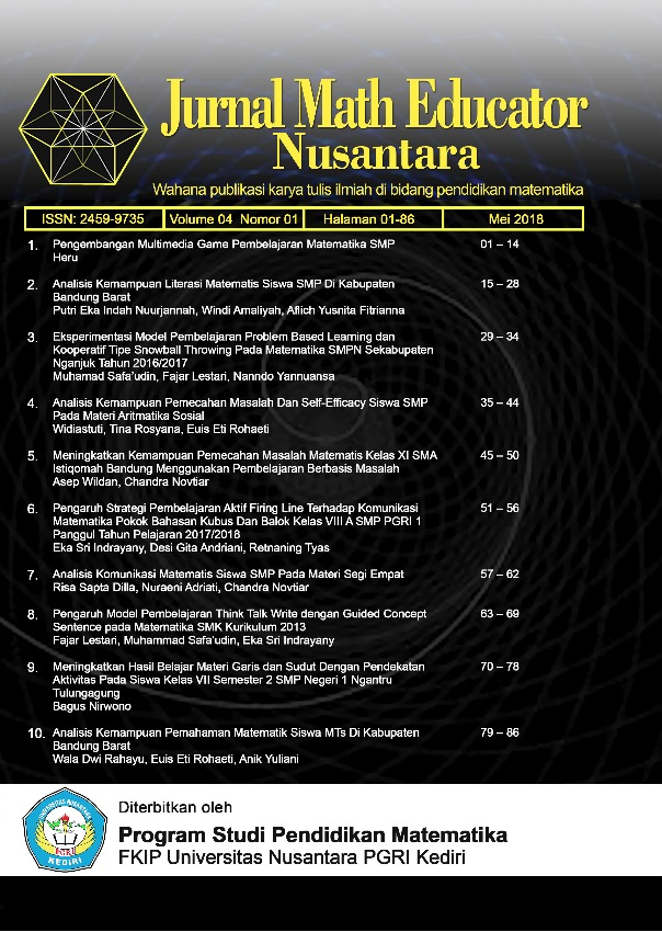 Jurnal Math Educator Nusantara Vol 4 No 1 (2018)